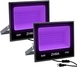 ZHMA 60W UV LED Black Light,Party Lights,UV Lamp with Plug,for Blacklight Party,Fluorescent Party,Black Light Posters for Room,Body Paint, Glow in The Dark Paint,Curing [2-Pack]