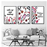 Wall art Makeup Modern Wall Art Canvas Painting Print Wakeup And Makeup Poster Cosmetic Art Picture Wall Beauty Room Decor-45X60Cmx3 Pcs No Frame