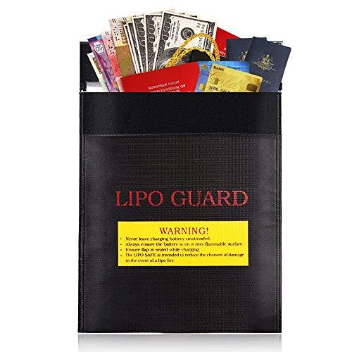 23 * 30CM Bolsa de Documentos Ignífuga Impermeable para Bateríasm Dinero en Efectivo Tarjetas Joyería Papeles Pasaporte (Negro)