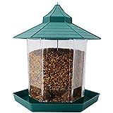 Herbests Comedero Tolva Pajaros Comederos Pajaros, Comedero para Pájaros para Colgar Transparente Exteriores Estación de Alimentación de Pájaros Contenedor de Alimentos,Verde