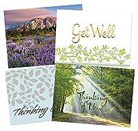 Get Wellカード 50枚 - 4つの平和なデザイン - 52枚の白い封筒 - FSCミックス