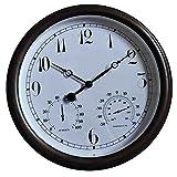 SXFYHXY Reloj Grande para Exteriores con Termómetro E Higrómetro, Reloj De Pared De Cuarzo De Metal De 15 Pulgadas, Reloj Silencioso De Metal para Jardín, para Patio, Piscina, Valla, Porche
