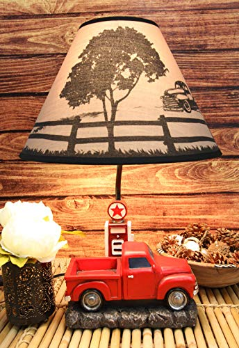 """Ebros Vintage Classic Old Fashioned Big Red Pickup Truck by Rural Gas Pump Desktop Table Lamp 18.75"""" Tall Nostalgic Country Farm Rustic Home Decor Shelf Mantlepiece Lighting Accent"""
