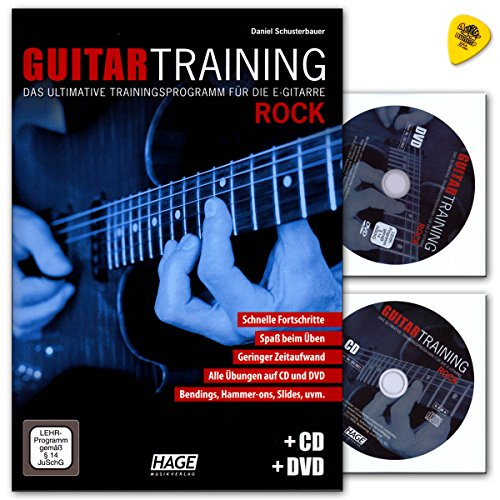 Guitar Training Rock - ultimative Trainingsprogramm für die E-Gitarre von Schusterbauer - Lehrbuch mit CD, DVD und Dunlop Plek