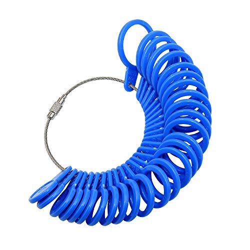 Yasumai US UK Blue Plastic Ring Sizer Tool Finger Size Gauge Measuring Kit Ring Sizers Measure Rings Sizing 1-13 A-Z with Half Size 27 Pieces