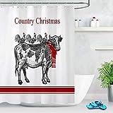 YEDL Lustige Kuh und Hahn Land Weihnachten Stoff Duschvorhang Badezimmer Dekor 180 × 180 cm