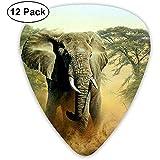 Paquete de 12 púas de guitarra Dibujo a lápiz Diseño de elefante, para guitarra acústica única Guitarras eléctricas bajas