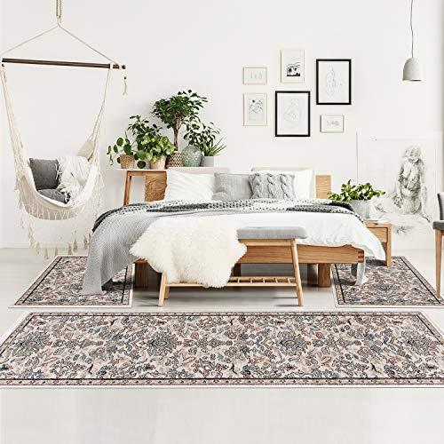 MyShop24 Teppich Schlafzimmer Vintage Blumenmuster - Beige Multi - Bettvorleger Bettumrandung - Kurzflor Orientalisch mit Fransen Oeko-Tex Standard 100
