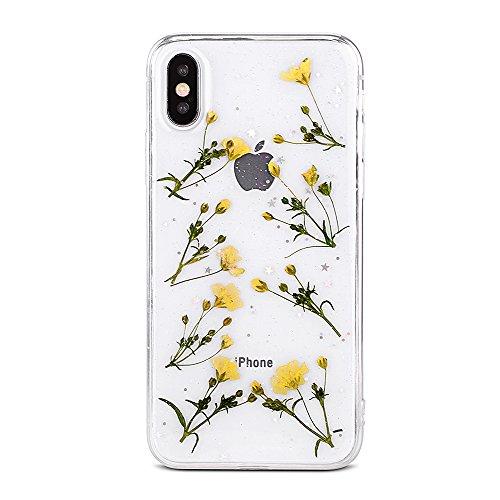 CLTPY Cover per iPhone XR, iPhone XR Copertina con Vero Disegno Floreale, Custodia in Silicone Morbido Trasparente con Paillettes Glitter Brillanti per iPhone XR + 1 x Stilo Libero - Fiore Giallo