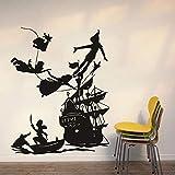 Anime tatuajes de pared dibujos animados barco pirata gancho puertas y ventanas pegatinas de vinilo niños niños dormitorio guardería decoración de interiores