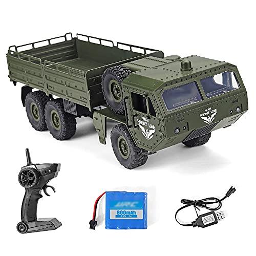 Nsddm Transporte Militar de Gran tamaño de 44 cm, camión RC, vehículo de Carretera 6WD, 2.4 g de Control Remoto, camión de Escalada de orugas, (Linterna LED/High & Lowswitch/Diferencial) Coche de