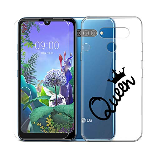SCDMY für LG Q60 Hülle + Panzerglas displayfolie,Weich Transparent Schutzhülle, Starker Schutz Silikon Case TPU Schale Handyhülle Und HD Panzerglas für LG Q60 (6.26