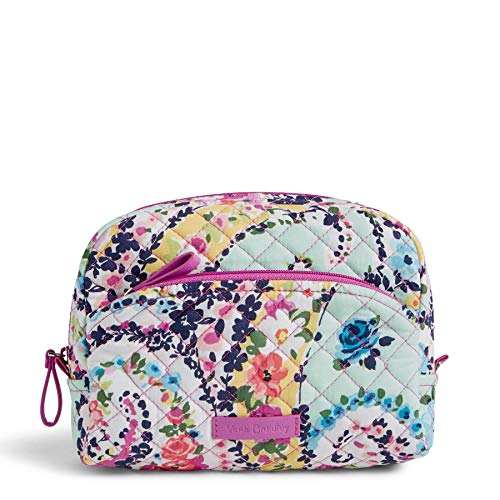 Vera Bradley Women's Signature Cotton Medium Cosmetic Makeup Bag, Wildflower Paisley, One Size