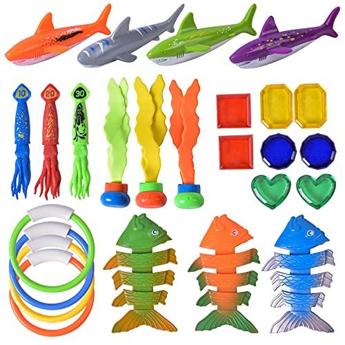NATUCE 25Pcs Tauchspielzeug, Tauchen Spielzeug Tauchring, Schwimmbad Spielzeug Unterwasser Tauch Pool Spielzeug Set mit Tauchen Edelsteine Fisch Hai Tauchbälle für Kinder Jungs Mädchen