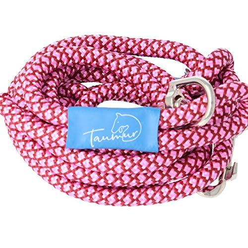 Taumur Nathra - zweifach verstellbare Hunde Leine aus Premium PPM - weinrot/rosa/rot - für große Hunde