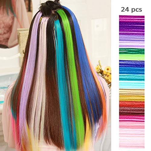 24 Pcs of 20 Inches Multi-colors Party Highlights Colorful Clip in Synthetic Hair Extensions,straight long Hairpiece