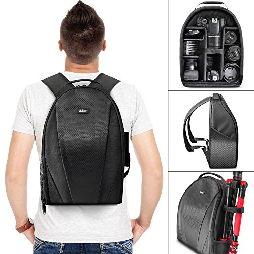 Vivitar Camera Backpack Bag for Sony Canon Fuji Panasonic Nikon DSLR & Mirrorless Digital Camera, Video Camera, Lenses and Photography Accessories - Black Camera Case with Tripod Holder