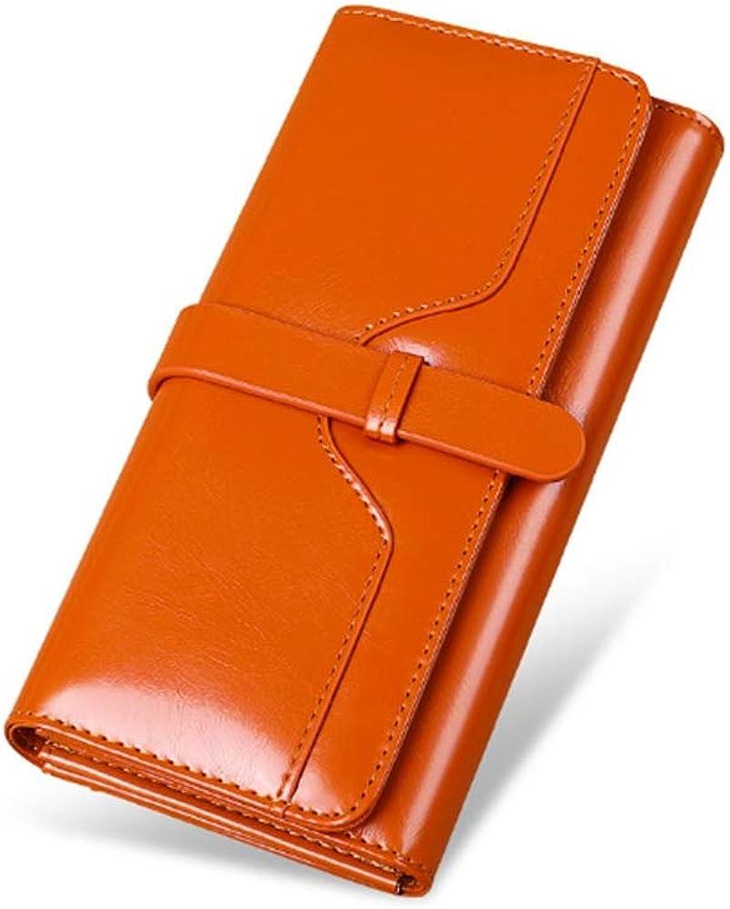 Dominic luxury light, portafoglio da donna, porta carte di credito,  in pelle cerata, marrone
