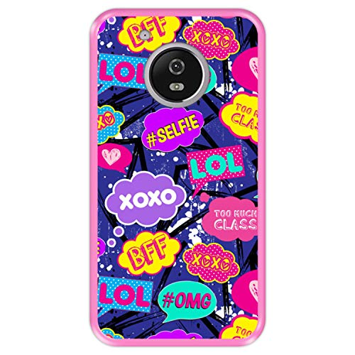 Hapdey Phone Case for [ Lenovo Motorola Moto G5 ] design [ Comic speech bubbles pattern 3 ] Pink TPU flexible silicone shell
