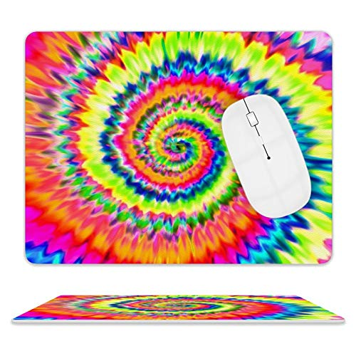 Leather Mouse Pad,Waterproof Mouse Mat with Stitched Edge Rubber Base Noise-Reduction Mouse Pads for Computers & PC 8'10' (Beautiful Tie Dye)
