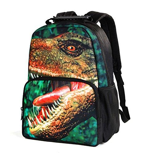 Koolertron Zaino 3D Animals Stampa Daypack dei dinosauri Zaino Scuola bagOne Dimensione Multicolore Per Scuola Camping Viaggi Adatto Libri di testo
