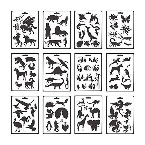 Domeilleur Niños 12Pcs / Set de plástico de los Animales Que pintan la Plantilla para los álbumes de DIY Que pintan el Arte