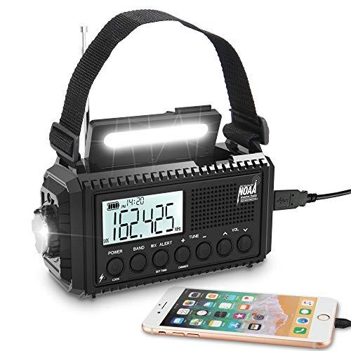 5000mAh Digital Weather Radio,5 Way Powered Solar Hand Crank Emergency Radio with Backlit LCD Screen,AM/FM/Shortwave,Auto NOAA Alert,Reading Lamp/LED Flashlight,USB Phone Charger,Earbud Jack,Clock,SOS