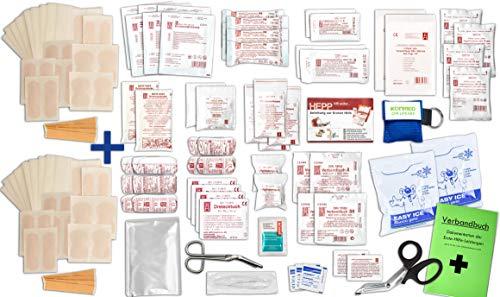 Komplett-Set Erste-Hilfe DIN 13 169 Plus 1B für Betriebe + ZUSÄTZL. 1x Pflasterset (56-teilig) + Notfallbeatmungshilfe, Verbandbuch, Alkoholtupfer, Pinzette