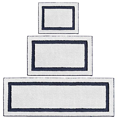 mDesign Soft Microfiber Polyester Spa Rugs for Bathroom Vanity, Tub/Shower - Water Absorbent, Machine Washable - Includes Plush Non-Slip Rectangular Accent Rug Mats in 3 Sizes - Set of 3 - White/Navy