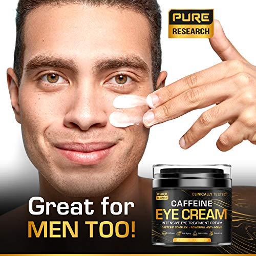 Caffeine Eye Cream For Anti Aging, Dark Circles, Bags, Puffiness. Great Under Eye Skin + Face Tightening, Eye Lift Treatment For Men