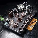 Set di tè cinese Kung Fu con vassoio di tè in pietra atomizzato che scorre acqua pietra stazione di tè automatica acqua bollente tè porcellana Service-D