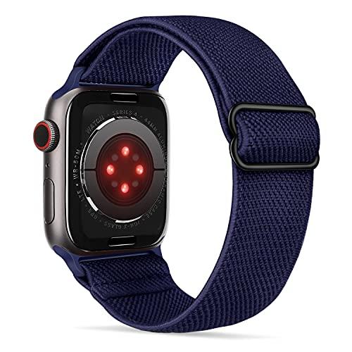 Tasikar Sport Solo Loop Compatible con Correa Apple Watch 44 mm 42 mm, Nailon Pulsera Repuesto, Correas Trenzada Elástica Ajustable para Apple Watch Serie 6/SE/5/4/3/2/1-Azul