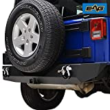 """EAG Rear Bumper Guard with 2""""Hitch Receiver and D-rings Fit for 07-18 Wrangler JK"""