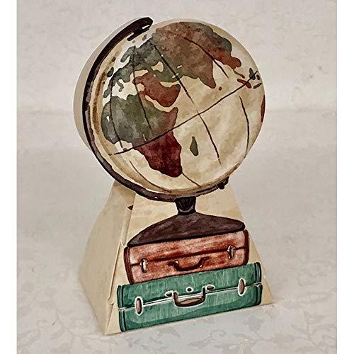 Publilancio srl 20X Travel Vintange Mappamondo Carta portaconfetti BOMBONIERA