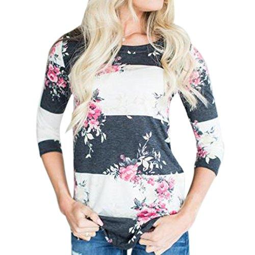 OVERDOSE Mokingtop Damen Floral Splice Printing Rundhals Pullover Bluse Tops T-Shirt (S, D-Weiß)