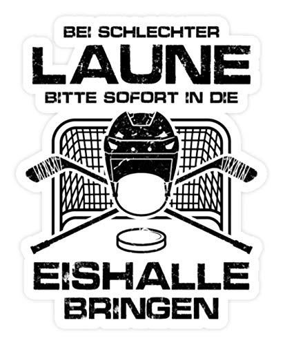shirt-o-magic Aufkleber Eishockey: Schlechtgelaunt? Eishalle! - Sticker - 20x20cm - Weiß