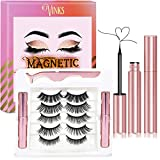 Vinks Magnetic Eyelashes with Eyeliner - Magnetic Eyeliner and Magnetic Eyelash Kit - Eyelashes With Natural Look - Comes With Applicator - No Glue Needed (5 Pairs)