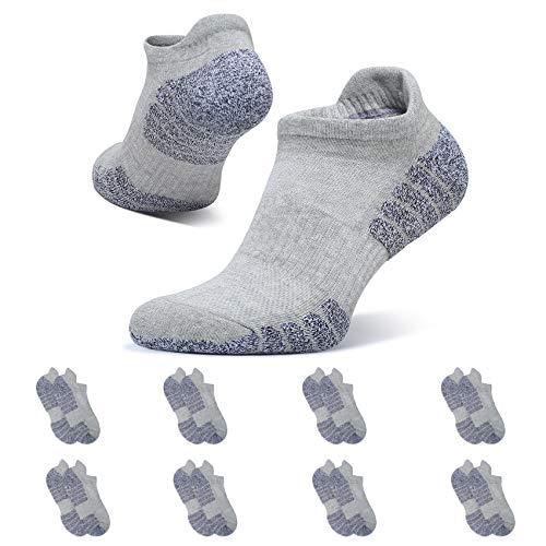 YouShow 8 Paar Sneaker Socken Herren Damen Sportsocken Kurze Halbsocken Männer Baumwolle Hellgrau 43-46