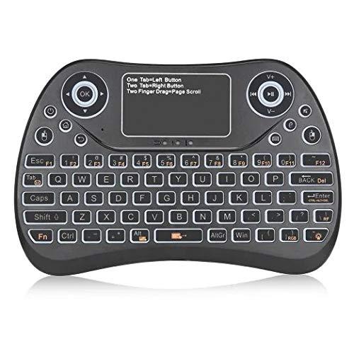Teclados MJYGV, Mice y Dispositivos de Entrada S913 2.4GHz Mini Smart Colorful Backlit Recargable Teclado de Juegos inalámbricos para Tablet/PC/Funda de televisión de Android, con TouchPad & Air M
