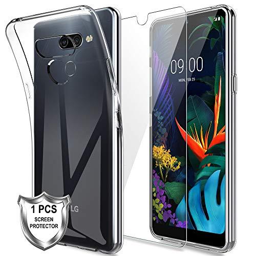 MP-MALL Hülle für LG K50,Schlanker Weiche Flex Silikon TPU Schutzhülle Case Cover Mit Panzerglas Folie[1 Pack] für LG K50 - Transparent