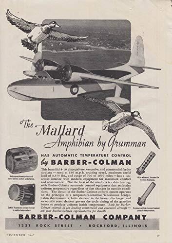 Automatic Barber-Colman Temperature Control Grumman Mallard Amphibian ad 1947