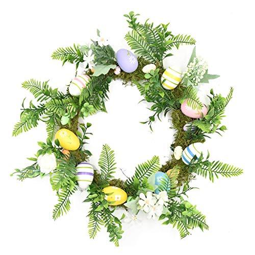 Guirnalda de Huevos de Pascua Manual de 45Cm, Guirnalda de ratán, Guirnalda de Flores Artificiales, Guirnalda de Ventana para el hogar, Guirnalda de Puerta Delantera, decoración de Pascua