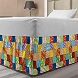 Lunarable Colorful Bed Skirt, Quilt Style Floral Plaid and Geometric Design Old Fashioned Patchwork Pattern, Elastic Bedskirt Dust Ruffle Wrap Around for Bedding Decor, Full, Yellow Blue