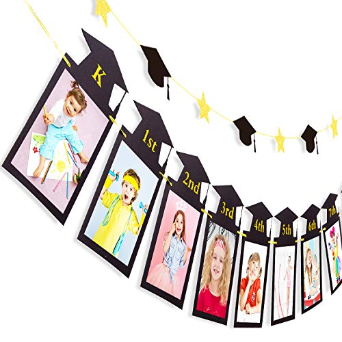 Whaline 2Pcs Graduation Photo Banner, Congrats Grad banner, No DIY Require Hanging Bunting, Kindergarten to 12th Grade Picture Garland, Black Gold Glitter Banner for Grad Party Decor, 5 x 7 inch