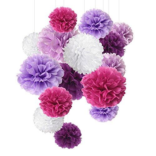 SD SPARKLING DREAM Seidenpapier Pompons Blaurot Papier Blumen für Party Dekorationen, Geburtstags, Hochzeitsfeier, 15 Stück in 20cm, 25cm, 35 cm