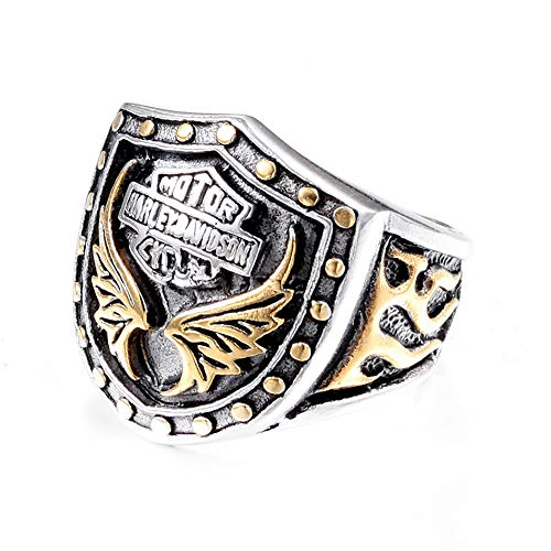 TYJKL Punk Ring Titanium Steel Men's Motorcycle Ring Retro Letter Ring Men's Personality Ring Perfect For Any Gift Giving Occasion (Color : Gold, Size : 9)