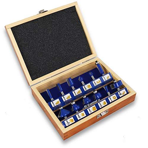 S&R Fräser-Set 12-tlg für hartes und weiches Holz, Schaft 8mm, Holzkoffer, geschmiedeter Werkzeugstahl, gehärtete Schneideplatten aus HM