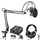 Neewer NW-700 Pro Condenser Microphone and Monitor Headphones Kit with 48V...