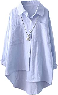 FTCayanz Women's Button Down Shirts V Neck Long Sleeve Loose Blouse Tops