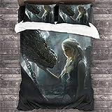 Juego de ropa de cama de Juego de Tronos, diseño de Jon Snow de Daenerys Targaryen dragón rey de dragón, ropa de cama para adultos y niños (GOT6, 200 x 200 cm)